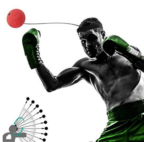 KURAZL Bola Velocidad Entrenamiento MMA Boxeo Portátil, Bolas Reacción 2 Niveles con Diadema Ajustable, Mejorar El Enfoque Golpe Deporte Ejercicio Físico para Adultos/Niños Bola Reflejo Regalo