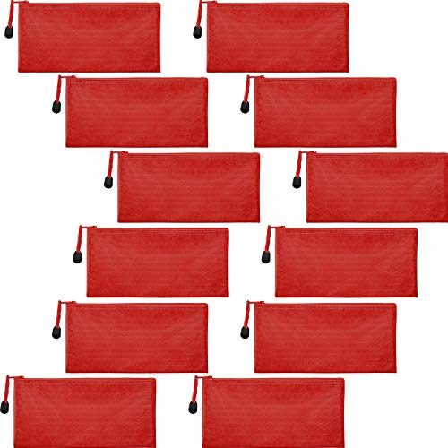 12 Pieces Zipper Waterproof Bag Pencil Pouch for Cosmetic Makeup Office Supplies and Travel Accessories (Red)