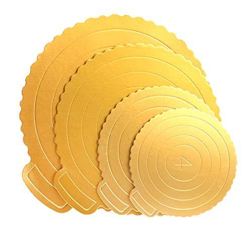 Cake Board, juego de 8 Estera para pasteles Round Cake Board Cake Circle base Bandeja Redonda para Tartas Tablas de cartón para postres Tableros De La Torta Mini de cartulina dorada 4 6 8 10 pulgadas