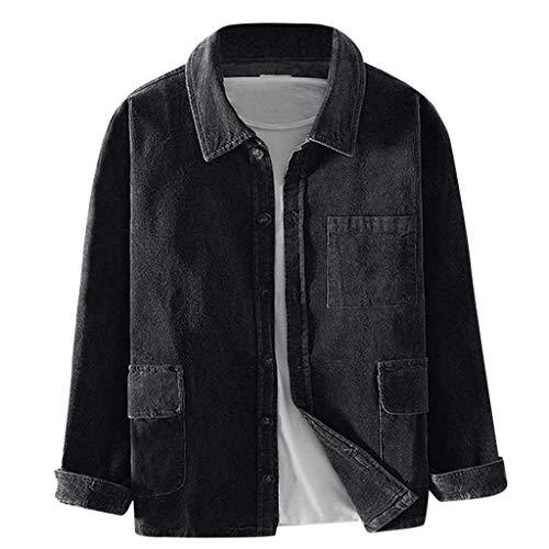 Kaiki Herren Corduroy Shirt Freizeithemd Business Freizeit Slim Fit Lässige Cordhemd Basic Jacke Vintage Attraktive Streetwear Jacken Bluse Top Große Größen (3XL, Schwarz)