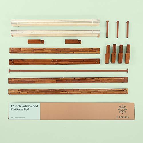 Zinus Wen 12 Inch Wood Platform Bed Frames / No Box Spring Needed / Wood Slat Support / Cherry Finish Queen