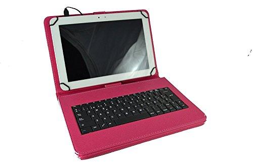 theoutlettablet Funda con Teclado extraíble en español (Incluye Letra Ñ) para Tablet Unusual 10X 10.1 - Color Rosa Fucsia