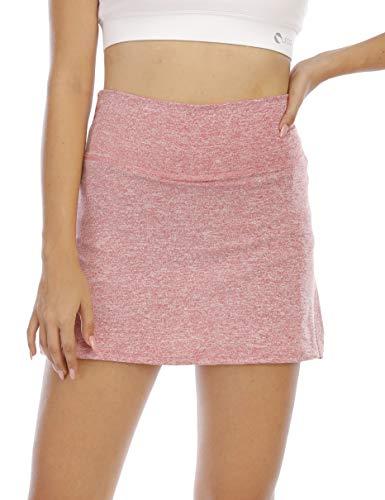 Koscacy Tennis Skirts for Women,Pencil Skirt Workout Athletic Pink Skort Girls Double Layered Skirt with Biker Shorts Moisture-Wicking Golf Skorts Fitness Activewear Pink L