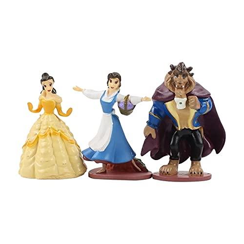 xiangwang 5-10 cm 3 piezas/lote de belleza y la bestia princesa Belle PVC figuras de acción Colección Modelo Juguetes Muñeca (color: 3 piezas bolsa de opp)