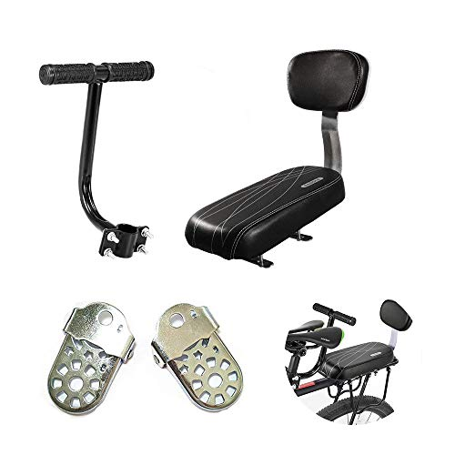 AUVSTAR Cojín para asiento trasero de bicicleta,asiento trasero de bicicleta de montaña,asiento trasero de vehículo eléctrico,cojín para asiento trasero, incluye cojín y reposapiés(Black set)