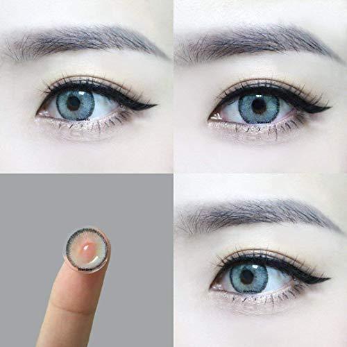 """Sehr stark deckende und natürliche graue Kontaktlinsen SILIKON COMFORT NEUHEIT farbig """"Mirel Grey"""" + Behälter von GLAMLENS – 1 Paar (2 Stück) – DIA 14.00 – ohne Stärke 0.00 Dioptrien - 4"""