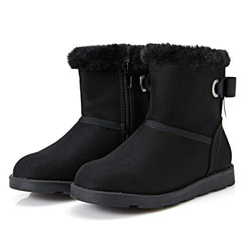 Weestep Girls Toddler Little Kid Warm Fur Winter Ankle Flat Snow Boot(12 Little Kid, Black)