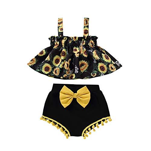 Pistazie - Conjunto de camiseta de tirantes para bebé niña de verano con flores y letras impresas, ropa para recién nacido, niña, camiseta con estampado de letra y pantalón corto floral Negro XS
