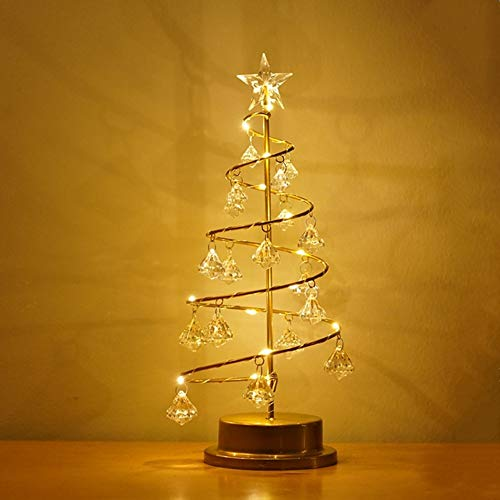 iClosam Table Lamp Christmas Tree Lamp Crystal - LED Christmas Tree Decorative Night Light,Warm White Decorative Tabletop Lamps Battery Powered Decor Desk Lamp for Bedroom/Living Room/Tabletop