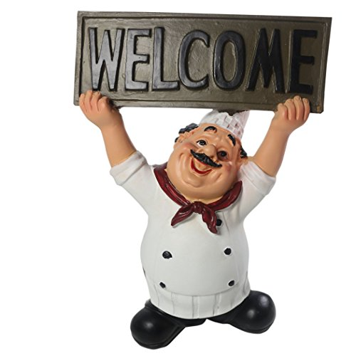 "KiaoTime 15016C Italian Chef Figurines Kitchen Decor with Welcome Sign Board Plaque Home Kitchen Restaurant Decor 8"""