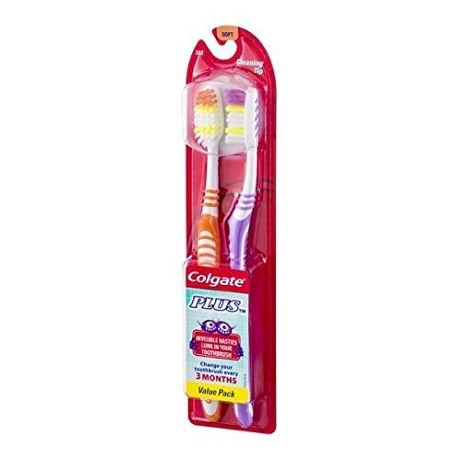 メダル粘液日の出Colgate プラスToothbrsh広告サイズ2PKプラス歯ブラシアダルト2PK FHS 2PK