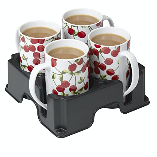 Muggi 4 Cup Mug Glass Bottle Holder Carrier Tray in Black | Use it anywhere Couch Floor Bed Man Cave Car RV Camper Camping Park Beach | Anti Spill | Made in UK
