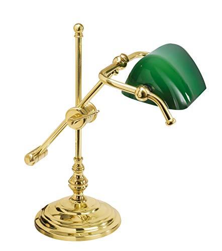 Bankerlampe Grün Echt-Messing Glasschirm Premiumqualität Gold 24 Karat Jugendstil Tischleuchte Wohnzimmer Büro