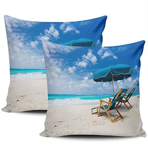 Chairs and Umbrella On A Beautiful Tropical Beach At Anguilla Fundas De Almohada Personalizado Almohada Cubierta Suave Fundas Cojín para Coche Cámping Sofá Juego De 2, 40x40 cm