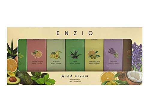 Enzio Professional Grade Shea Butter Based Hand Cream Lotion Gift Set (7 Variety) (Each Tube Content 1.4oz/42ml) (Free of Parabens, Benzophenone, Talc, and Color Additives)