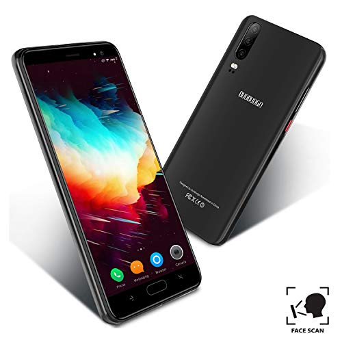 Telefonos Moviles Libres 4G, Smartphone Baratos de 16GB ROM 5.5''Pulgadas Android 9.0 Quad Core 4800mAh Batería Moviles Libres Baratos Dual SIM Cámara 8MP Teléfono Móvil Face ID(Negro)
