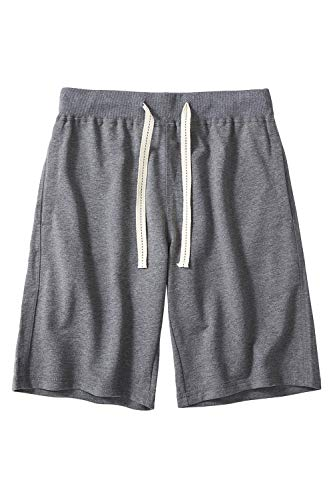CZZSTANCE Mens Shorts Casual Cotton Workout Drawstring Summer Beach Shorts with Elastic Waist and Pockets Dark Gray