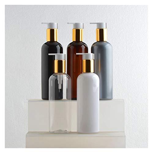 Cosméticos vacíos 20x300ml Vacío Blanco/marrón Líquido Líquido Loción Pump 300cc Botella de champú rellenada con Bomba de Oro Recipientes cosméticos Prueba de Fugas