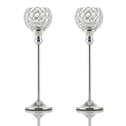 VINCIGANT Silver Crystal Pillar Candle Holders Coffee Table Decorative Centerpiece for Wedding Candlelight Dinner Vases