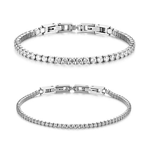 JewelryWe Bracciale Coppia Donna Uomo Fidanzati con Zircone Lucido Perline Braccialetto di Tennis Eleganza Moderna Regalo