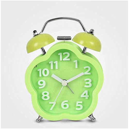 LHOME Creative Mute Alarm Clock Reloj electrónico Luminoso Mesita de Noche Pequeño Reloj de Alarma Lazy Mechanical Section Reloj y Relojes 6 Colores 9cm * 12cm (Color : Green)