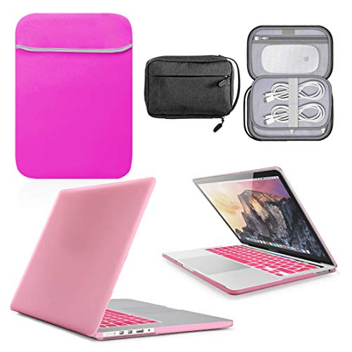 GUPi - Pink Hard Shell Case, Cover with matching Neoprene Sleeve & Water Resistant Accessory Bag for Apple MacBook Air [13-inch MacBook [A2337-2020]