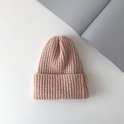 Nuevo Gorro Liso de Punto, cálido, Suave, de Moda, Sombreros de Invierno, Gorras Casuales Simples para Mujer, Gorro Elegante para Todos los Partidos-Pink