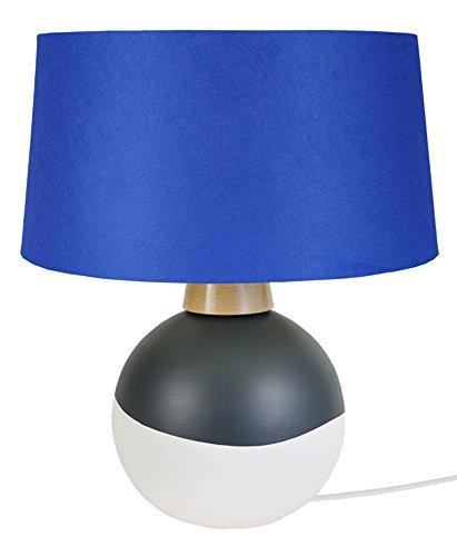 Tosel 64519 Iráklio, Céramique/Bois Hêtre/Coton, Gris/Bleu, 400 x 580 mm