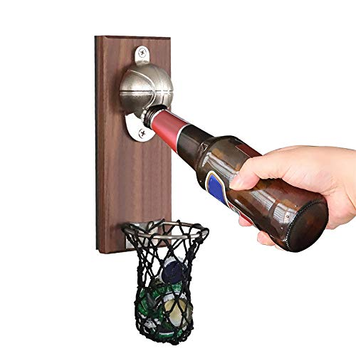 Y&L Wall-Mounted Basketball Bottle Opener with Embedded Magnetic Lid Catcher, for Basketball and...