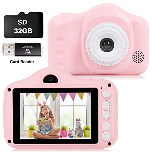 CKATE Cámara para Niños Juguetes Cámara Digital para Selfies de Doble Lente para Niños de 3 a 10 Años Pantalla a Color de 3,5 Pulgadas 1080FHD con Tarjeta SD de 32 GB, Regalos para Niños Y niñas Rosa