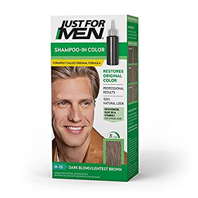 Just for Men Shampoo-In Color (Formerly Original Formula), Gray Hair Coloring for Men - Sandy Blond, H-10 (Packaging May Vary)