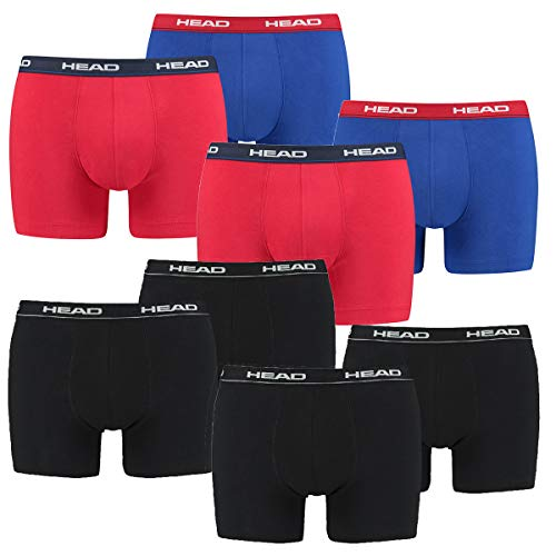 HEAD 8 er Pack Herren Boxer Boxershorts Basic Pant Unterwäsche, Farbe:Schwarz/Rot/Blau, Bekleidungsgröße:XL