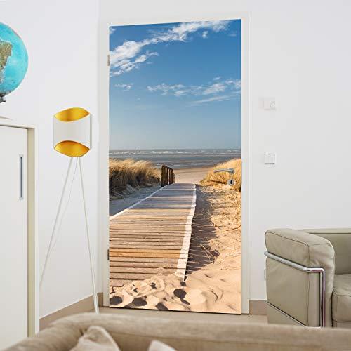 murimage Türtapete Strand Meer 86 x 200 cm inklusive Kleister Dünen Ostsee Nordsee Weg Steg Fototapete