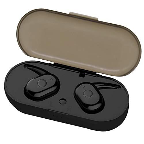 TWS Bluetooth 5.0 Wireless Earphone HiFi Stereo Call Headphone with Charging Box Intelligent Compatibility Long Battery Life (Black, 2.5x1.5x2.5cm)