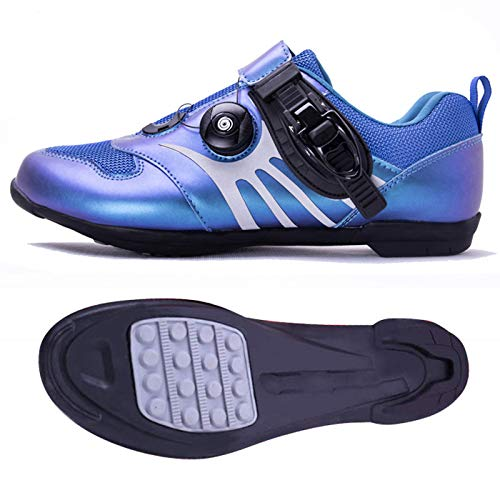 ZDERET Zapatillas De Ciclismo Antideslizantes Transpirables Color Sinfónico Carretera Zapatillas De Bicicleta De Montaña Deportes Giratorias Hebilla De Ajuste Fino Reflectante TPU Unisex,Azul,43