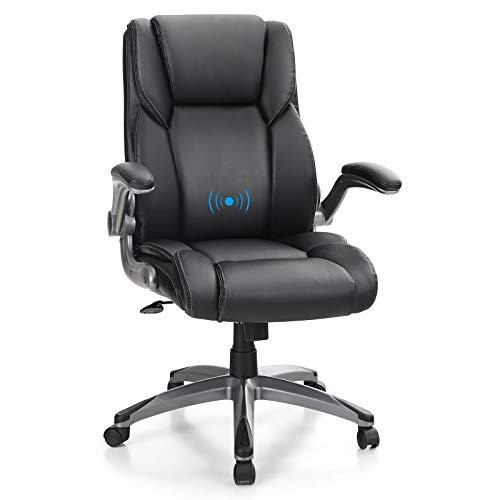 PHI VILLA Office Chair with Mid Back,Ergonomic Desk Chair with Massage Lumbar Support,Executive Office Chair with Adjustable Armrest,PU Leather,Weight Capacity 400 lbs,Black