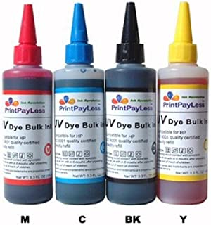 400 ml of PrintPayLess Brand UV Resistant Refill Ink for HP(non-OEM): HP 88, HP 564, HP 920, HP 10, HP 11, HP 12, HP 82, HP 84, HP 85, Refillable Ink Cartridges, CISS, CIS System - 4 Packs - Black, Cyan, Magenta, Yellow - 100ml / color, NOT Universal Ink