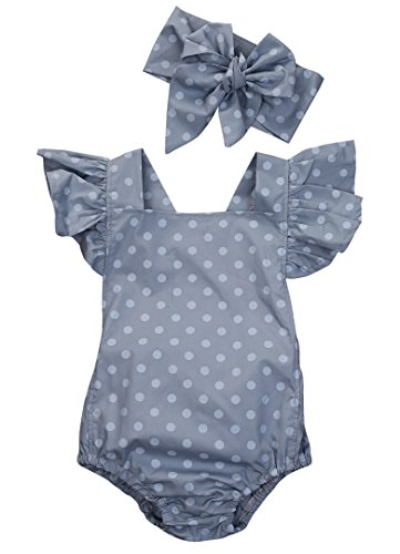MA&BABY Baby Girls Kid Lace Romper Backless Sunsuit Ruffle Sleeve Dress (6-12 Months, Polka Dot)