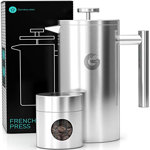 Coffee Gator French Press Coffee Maker- Insulated, Stainless Steel Manual Coffee Makers For Home, Camping w/ Travel Canister- Presses 4 Cup Serving- Large, Silver