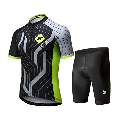 Short Sleeve Cycling Suit Summer Mountain Road Bicycle Clothes Jacket Shorts Quick Dry Breathable Bike Jerseys Green