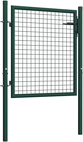 Puerta de Malla de Jardín, Puerta de Valla Acero Puerta de Valla Metálica para Jardín Patio Exterior, Verde (100 x 125 cm)