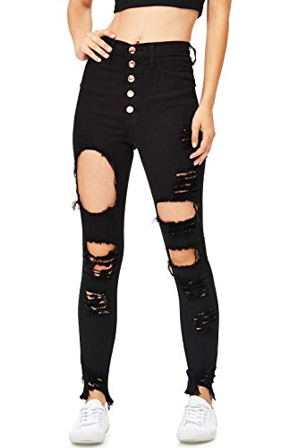 Vibrant Women's Juniors High Waisted Extreme Ripped Jeans (3, Black)