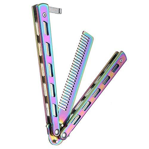 1 stücke Faltbare Kamm Edelstahl Praxis Training Schmetterling Messer Kamm Bart & Schnurrbart Pinsel Friseur Styling Werkzeug