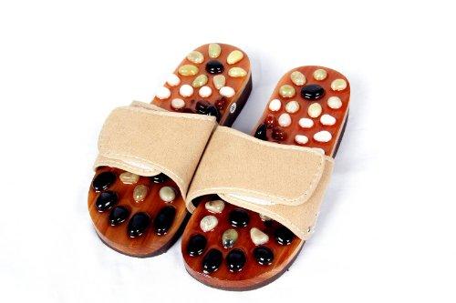 HealthPanion 1 Paar Naturstein-Massage-Hausschuhe für vollständige Fußreflexzonenmassage, fördert Blutkreislauf und verbessert den Stoffwechsel