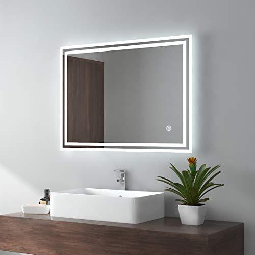 EMKE LED Badspiegel 90x70cm Badezimmerspiegel mit Beleuchtung kaltweiß Lichtspiegel Wandspiegel mit Touchschalter + beschlagfrei IP44 energiesparend