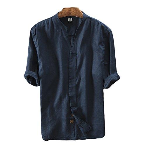 Icegrey Camicia Uomo Camicie di Lino a Maniche Corte con V Collo Estive Camicia Profondo Blu 52