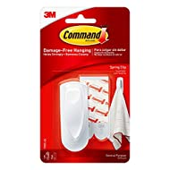 Command Medium Spring Clip, White, 1-Clip, 2-Strips, Organize Damage-Free