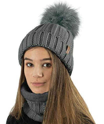 TOSKATOK Gorro y Bufanda para Mujer de Invierno con Gorro y Forro Polar cálido con Forro Polar cálido y pompón Grande de Piel sintética - Disponible Solo o en Conjunto