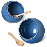 LE TAUCI Salt Pig Ceramic Set w/Wooden Spoons, 12 Oz Salt Cellar, Fit a Large hand, Wide-Mouth Salt Crock Box, Salt and Pepper Shaker, Set of 2, Ceylon Blue