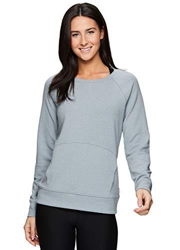 RBX Active Women's Fashion Long Sleeve Crewneck Sweater Lightweight Pullover Sweatshirt with Pocket Light Blue M